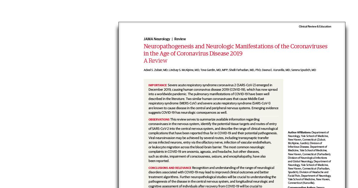 Neuropathogenesis And Neurologic Manifestations Of The Coronaviruses In The Age Of Coronavirus Disease 2019